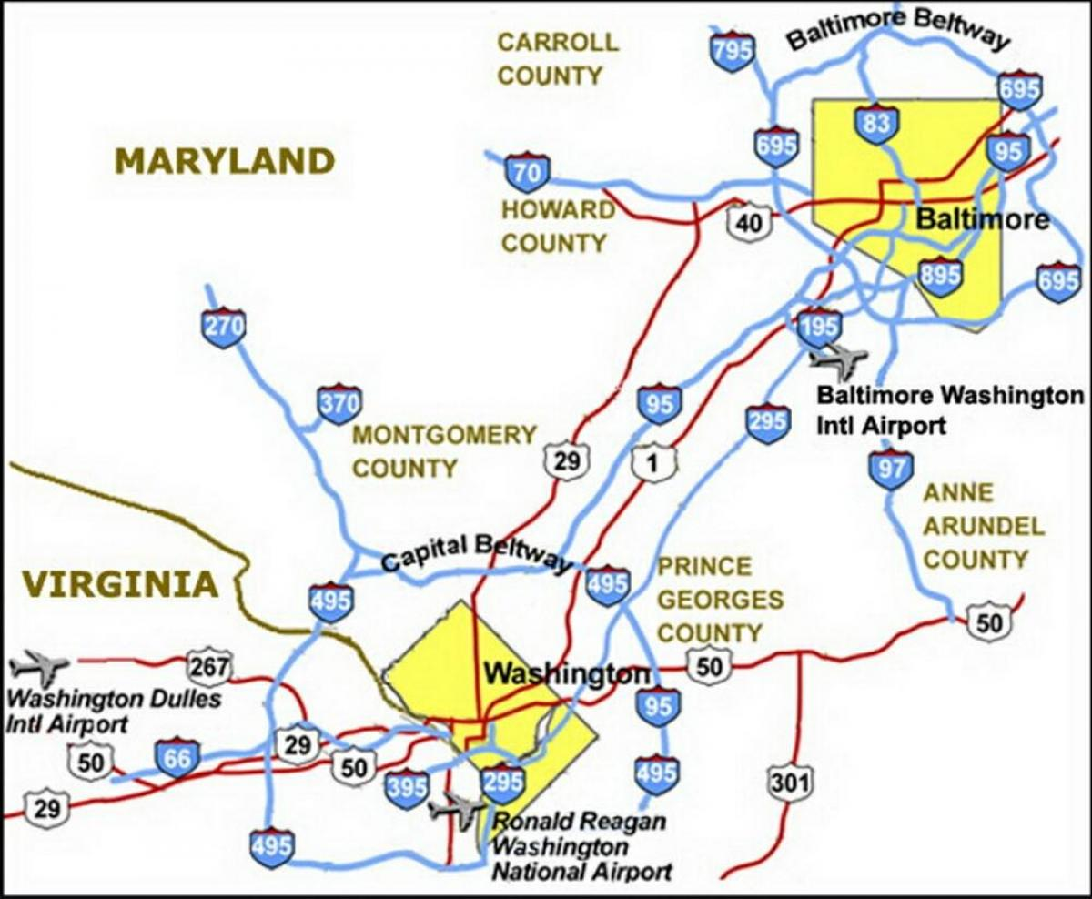 Washington Dc Airports Map Dc Airports Map District Of Columbia Usa