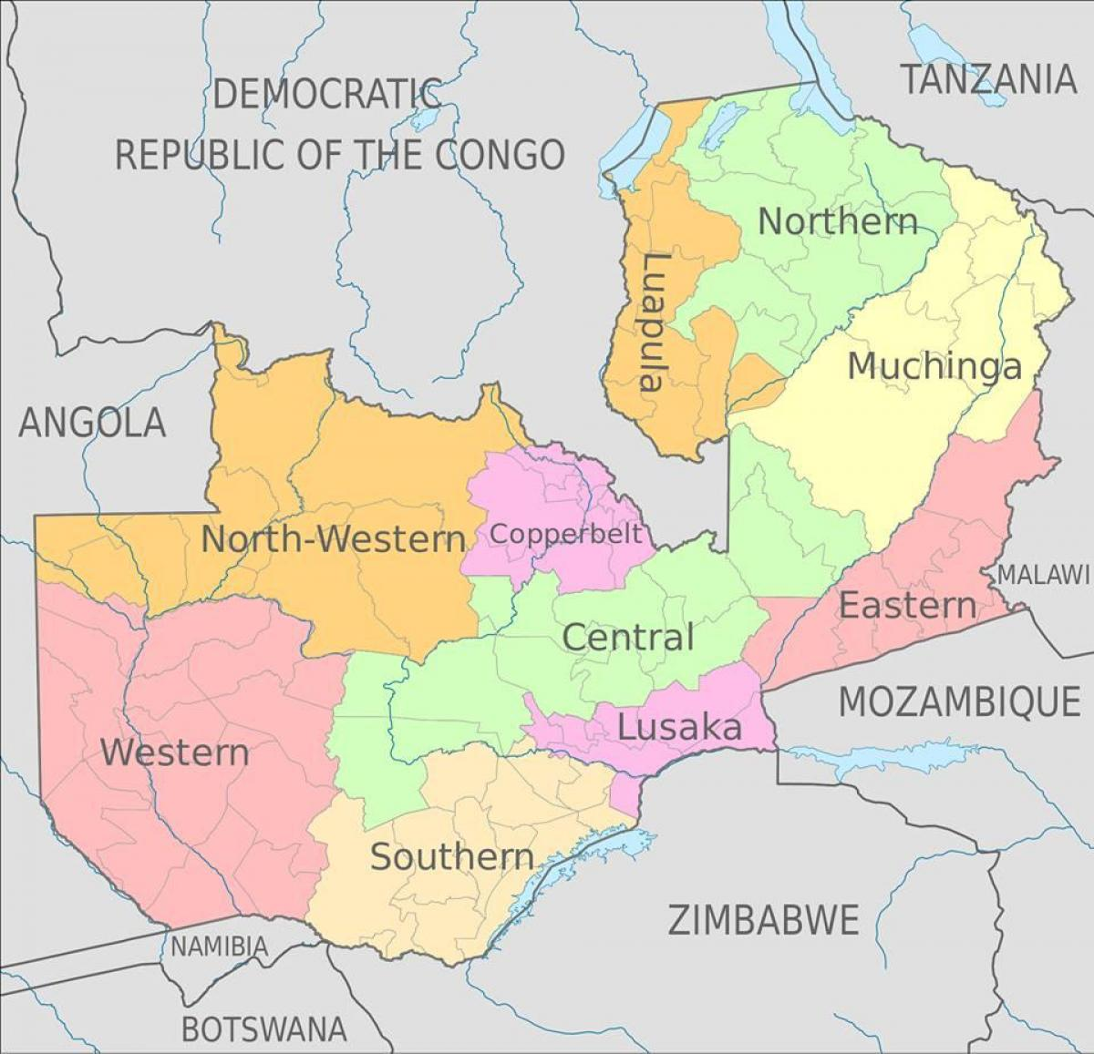 map of zambia with