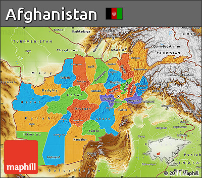 Free Political Map of Afghanistan physical outside