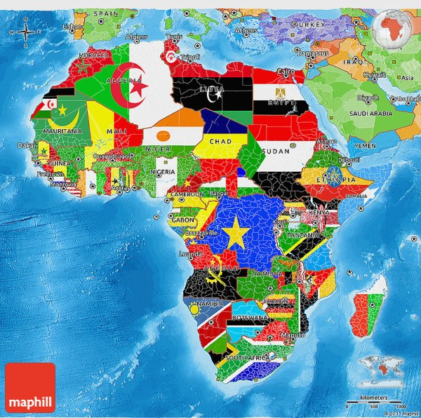 Flag 3D Map of Africa political outside