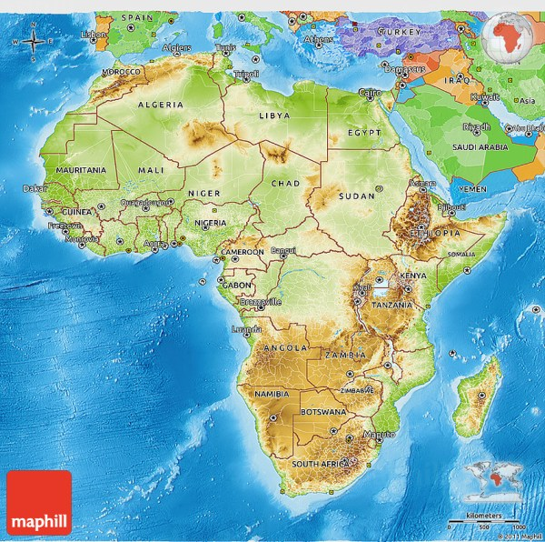 Physical 3D Map of Africa political outside shaded