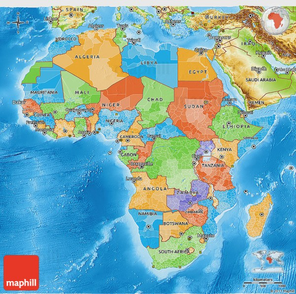 Political 3D Map of Africa physical outside