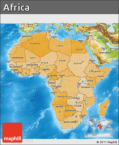 Free Political Shades 3D Map of Africa physical outside