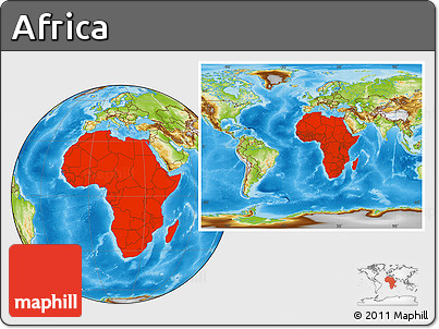 Physical Location Map of Africa, within the entire world
