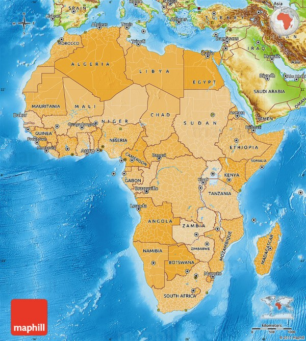 Political Shades Map of Africa physical outside