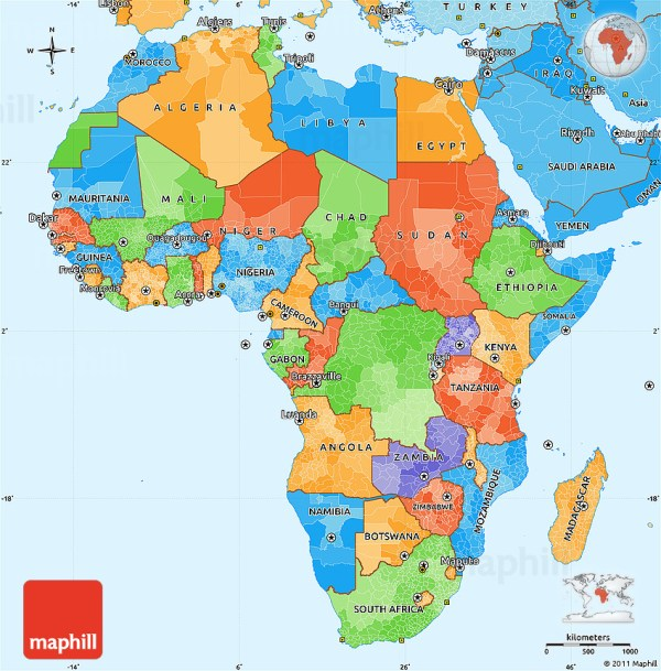 Political Simple Map of Africa political shades outside