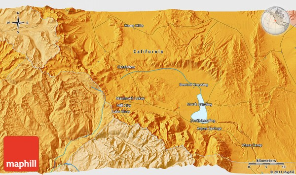 Political 3D Map of Mammoth Lakes