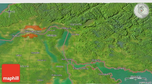 Satellite 3D Map of Sault Ste Marie
