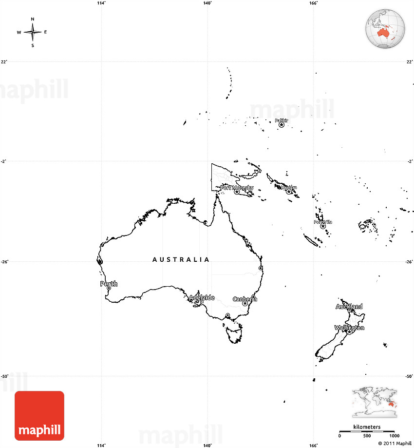 Blank Map Of Australia And Oceania