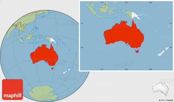 Savanna Style Location Map of Australia highlighted continent
