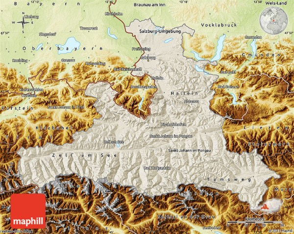 Shaded Relief Map of Salzburg physical outside