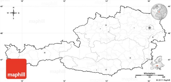 Blank Simple Map of Austria cropped outside no labels