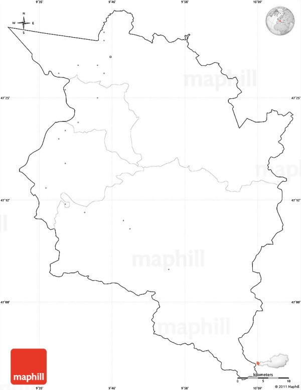 Blank Simple Map of Vorarlberg cropped outside no labels