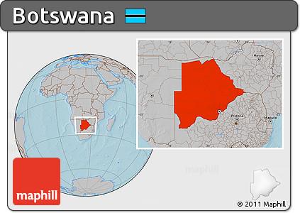 Gray Location Map of Botswana, hill shading