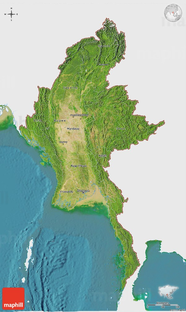 Satellite Panoramic Map Of Burma - Year of Clean Water on