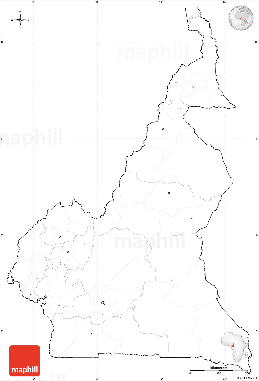Blank Simple Map of Cameroon, cropped outside, no labels