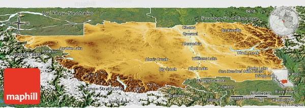 Physical Panoramic Map of Cariboo satellite outside