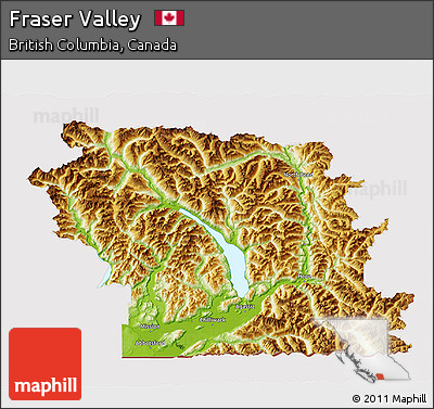 Free Physical 3D Map of Fraser Valley cropped outside