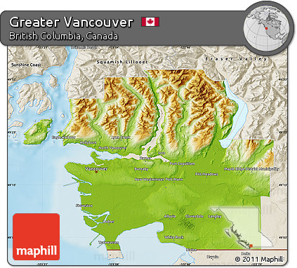 Free Physical Map of Greater Vancouver shaded relief outside