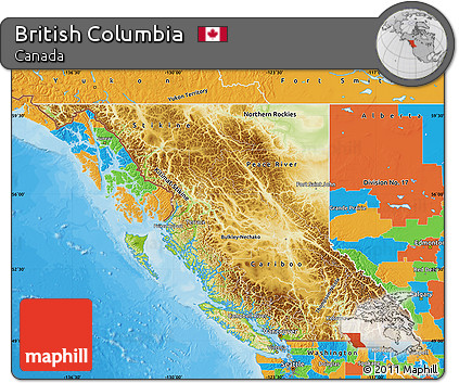 Free Physical Map of British Columbia political outside