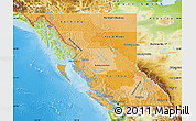 Political Shades Map of British Columbia physical outside