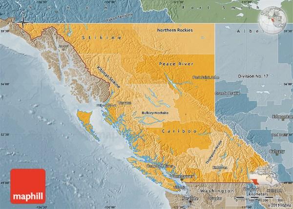 Political Shades Map of British Columbia semidesaturated