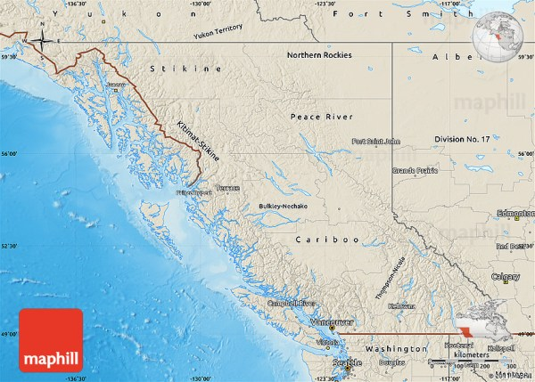 Shaded Relief Map of British Columbia