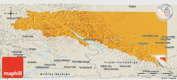 Political Panoramic Map of Peace River shaded relief outside
