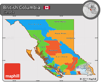 Free Political Simple Map of British Columbia cropped outside