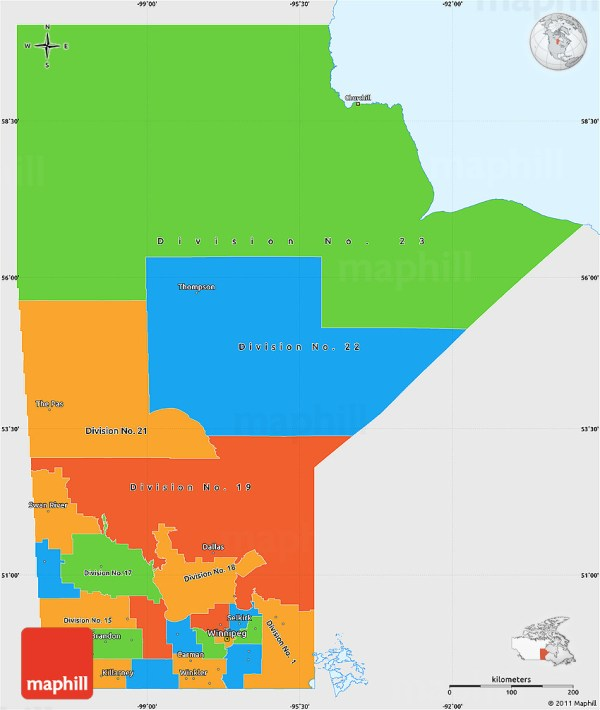 Political Simple Map of Manitoba single color outside