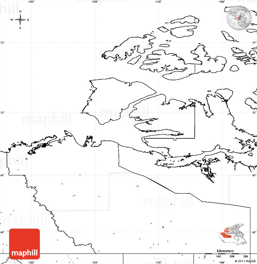 Blank Simple Map of Northwest Territories, no labels