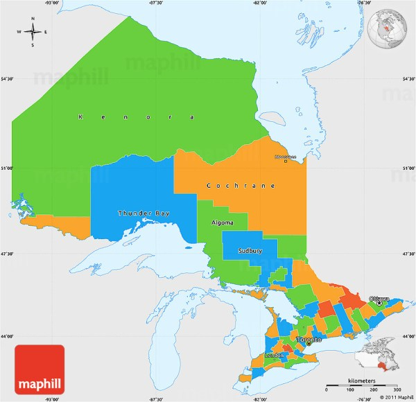 Political Simple Map of Ontario single color outside