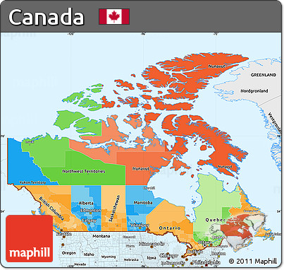Free Political Simple Map of Canada single color outside