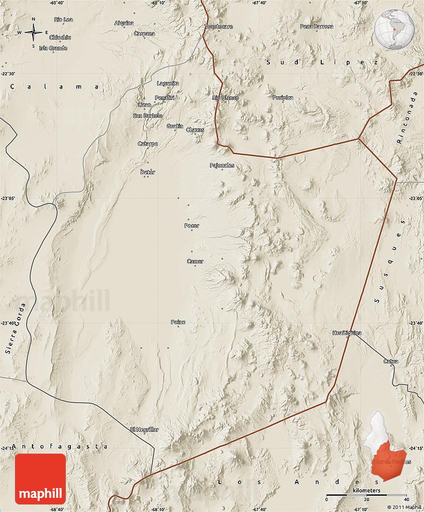 Shaded Relief Map of San Pedro De Atacama