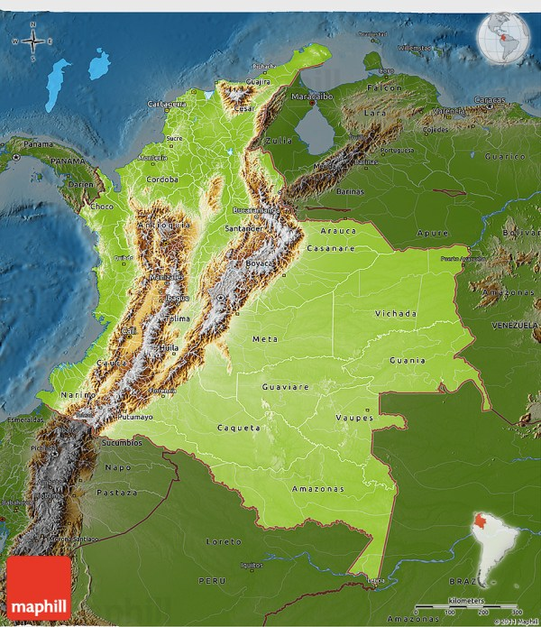 Physical 3D Map of Colombia darken