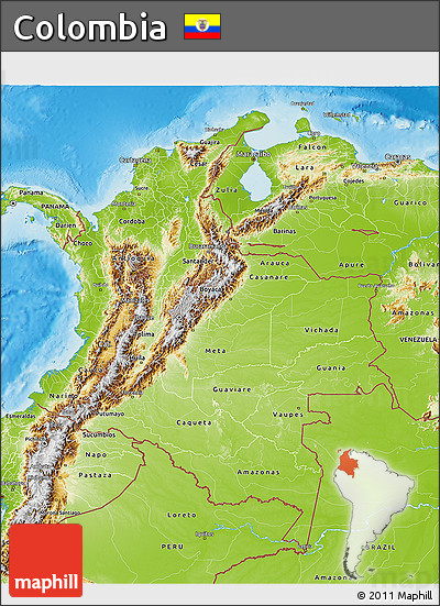 Free Physical 3D Map of Colombia