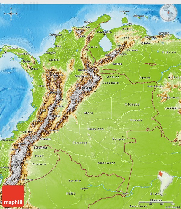 Physical 3D Map of Colombia