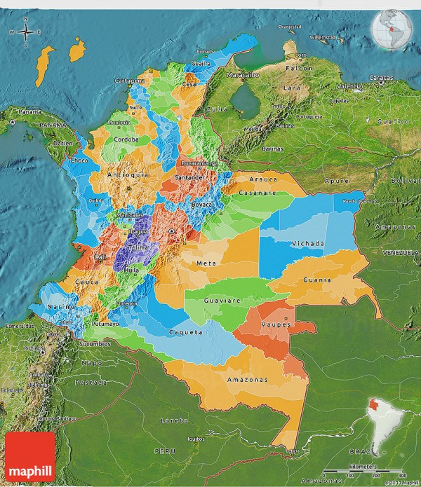 Political 3D Map of Colombia satellite outside