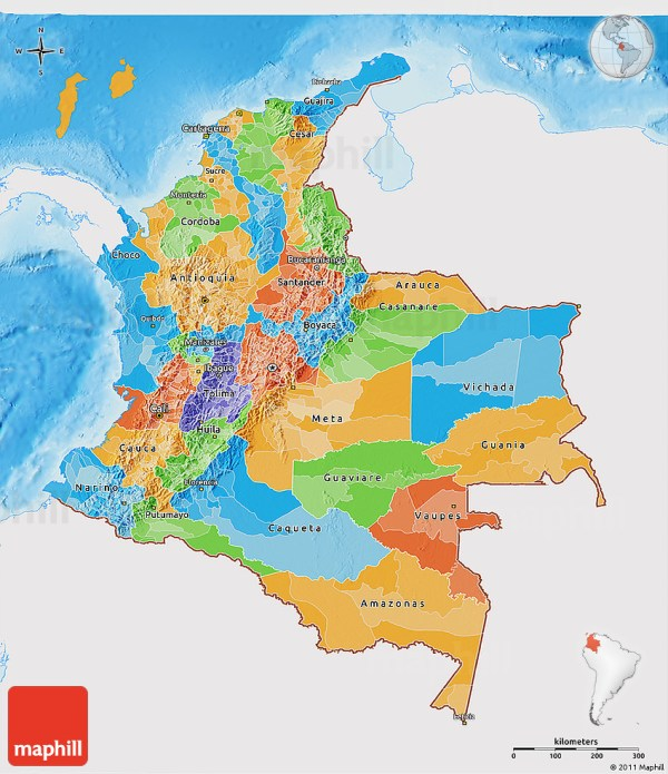 Political 3D Map of Colombia single color outside shaded