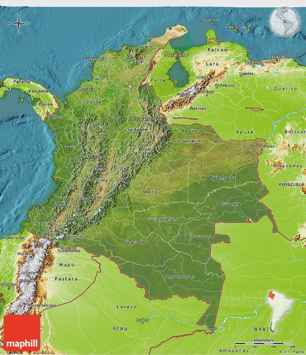 Satellite 3D Map of Colombia physical outside satellite sea
