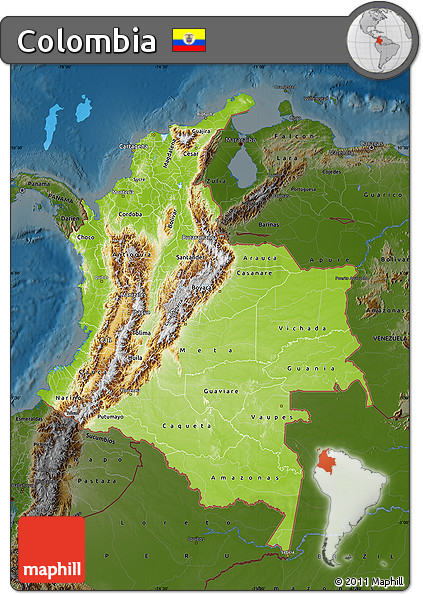 Free Physical Map of Colombia darken
