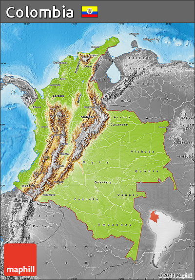 Free Physical Map of Colombia desaturated land only