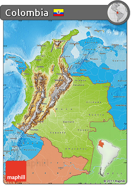 Free Physical Map of Colombia political shades outside