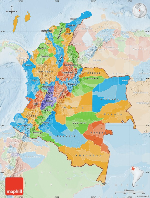 Political Map of Colombia lighten