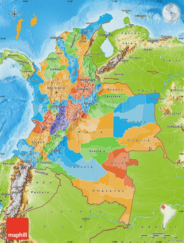Political Map of Colombia physical outside
