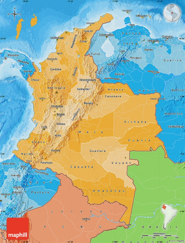 Political Shades Map of Colombia