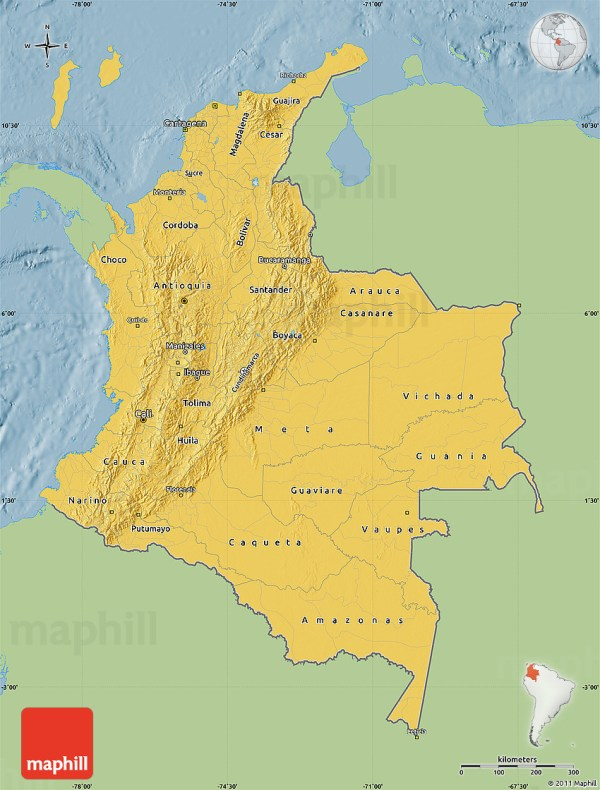 Savanna Style Map of Colombia single color outside