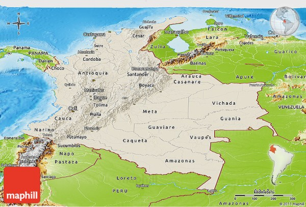 Shaded Relief Panoramic Map of Colombia physical outside