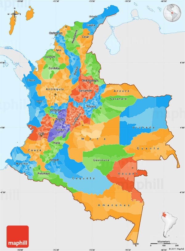 Political Simple Map of Colombia single color outside