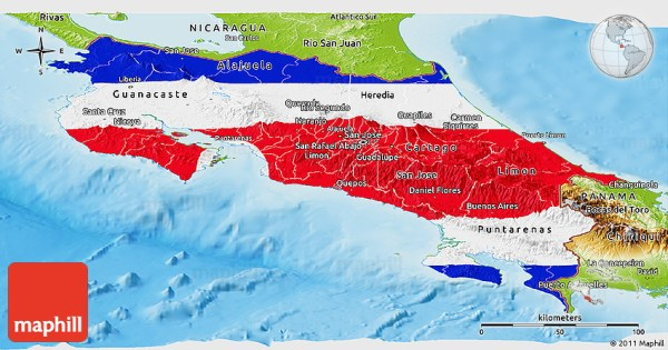 Flag Panoramic Map of Costa Rica physical outside